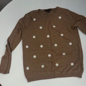 **must go!** Camel polka dot crew neck sweater